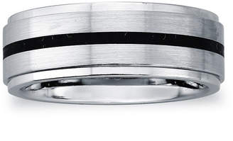 MODERN BRIDE Mens 8mm Cobalt & with Black Enamel Stripe Wedding Band