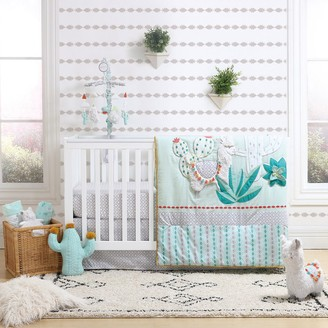 The Peanut Shell Baby Llama & Cactus Reversible Quilt, Fitted Crib Sheet & Dust Ruffle Bedding Set