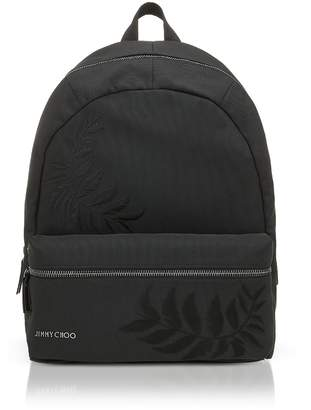 Jimmy Choo Reed Black Woven Nylon Backpack W/feather Embroidery