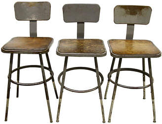 One Kings Lane Vintage Industrial Lab Stools - Set of 3 - Rare and Worthy