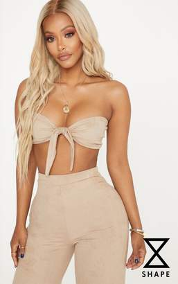PrettyLittleThing Shape Camel Faux Suede Bow Front Crop Top