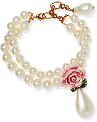 Dolce & Gabbana Faux-pearl, Enamel And Crystal Necklace - Pink