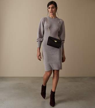 Reiss NORDICA FLUTE SLEEVE KNITTED DRESS Grey Marl