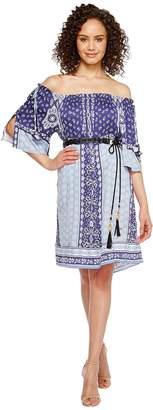 Hale Bob Boho Bandits Rayon Stretch Satin Woven Off the Shoulder Dress Women's Dress