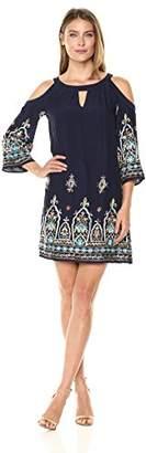 Sangria Women's Embroidered Cold Shoulder Shift