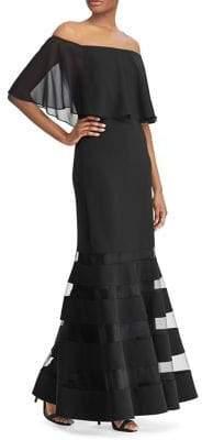 Lauren Ralph Lauren Ruffled Overlay Fit-and-Flare Gown