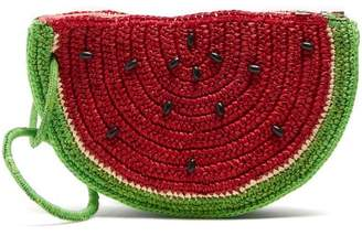 Sensi Studio - Watermelon Toquilla Straw Clutch - Womens - Red Multi