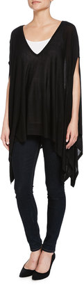 Minnie Rose Space-Dye V-Neck Poncho, Blue/Combo $100 thestylecure.com