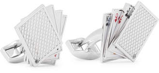 Tateossian Playing Cards Enamelled Rhodium-Plated Cufflinks - Silver