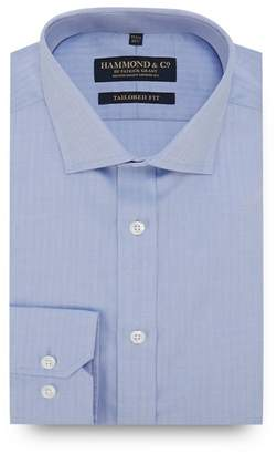 Hammond & Co. by Patrick Grant - Light Blue Herringbone Stripe Long Sleeve Tailored Fit Shirt