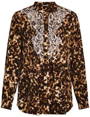 Roberto Cavalli Leopard Embroidered Blouse
