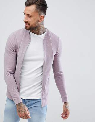 Asos DESIGN Muscle Jersey Bomber Jacket In Pink Marl