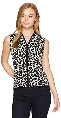 Calvin Klein Women's Mj V-Neck Top with Piping