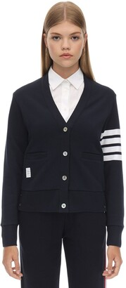 Thom Browne V Neck Intarsia Stripes Cotton Cardigan