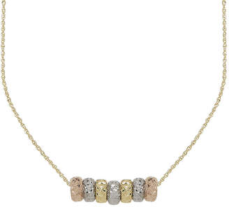 JCPenney FINE JEWELRY 14K Tri-Tone Gold Textured Rondelle Bead Pendant Necklace