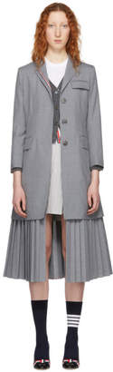 Thom Browne Grey Pleated Bottom Chesterfield Overcoat