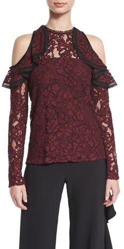 AlexisAlexis Millie Lace Cold-Shoulder Top, Burgundy