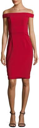 Carmen Marc Valvo Crepe Off-The-Shoulder Dress