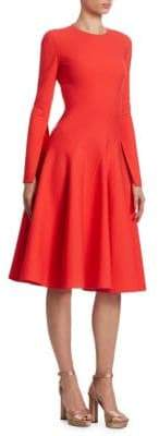 Oscar de la Renta Long-Sleeve Spiral-Cut A-Line Dress