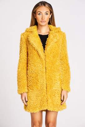 Studio Mouthy Mustard Faux Fur Teddy Coat