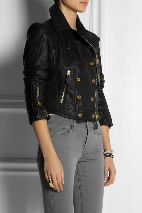 Burberry Textured-leather biker jacket