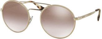Prada Mirrored Round Brow-Bar Sunglasses, Beige