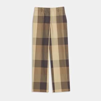 Silk-Cotton Check High-Waisted Straight Pant