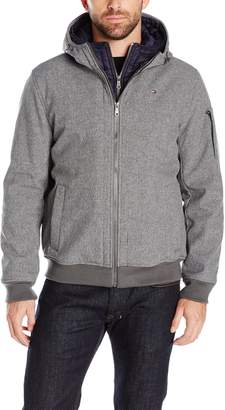 Tommy Hilfiger Men's Soft Shell Fashion Bomber with Contrast Bib and Hood, Heather Grey/Navy