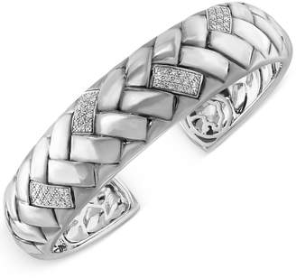 Effy Diamond Bangle Braid Bracelet (1/3 ct. t.w.) in Sterling Silver