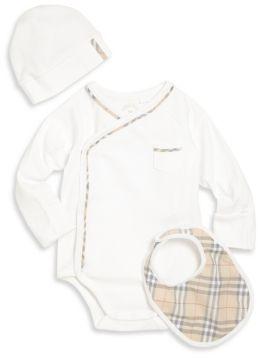 Burberry Baby's Konner Boys Three-Piece Bodysuit, Hat & Bib Gift Set $150 thestylecure.com