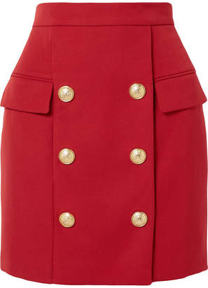 Balmain Button-embellished Wool-piqué Mini Skirt - Red
