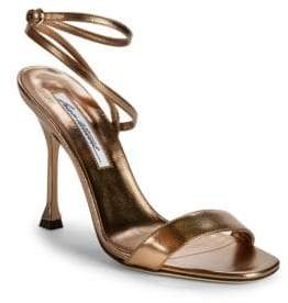 """Brian Atwood Sienna Metallic-Leather Ankle Wrap Sandals/3"""""""