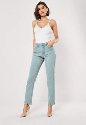 Missguided Blue Wrath Vintage Wash High Waisted Straight Leg Jeans