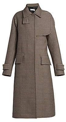 Victoria Beckham Women's Flared Wool Plaid Coat