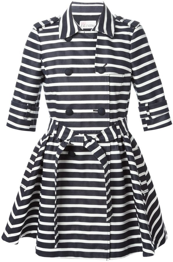 RED ValentinoRed Valentino striped trench coat