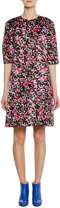 Marni Short-Sleeve Abstract-Print Cotton Woven Dress