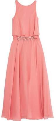 Halston Belted Chiffon Midi Dress