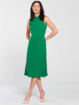 Warehouse Tie Back Midi Dress - Green