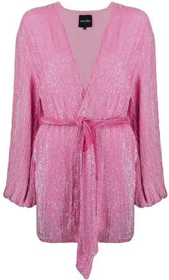 retrofete velvet-trimmed sequinned wrap mini dress