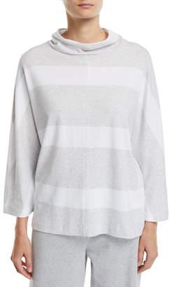 Joan Vass 3/4-Sleeve Mock-Neck Striped Tunic Pullover