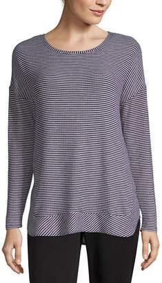 A.N.A Long Sleeve Round Neck Stripe T-Shirt-Womens