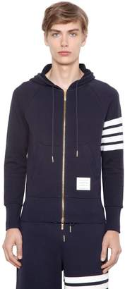 Thom Browne Intarsia Stripe Hooded Cotton Sweatshirt