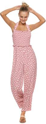 Candies Juniors' Candie's Smocked Halter Jumpsuit