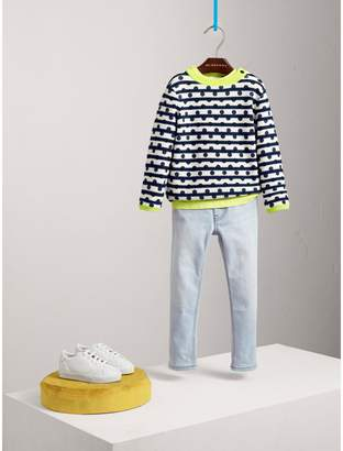 Burberry Dot Print Striped Cotton Cashmere Sweater