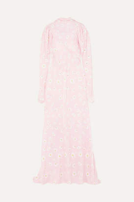 Paco Rabanne Floral-print Satin Maxi Dress - Pink