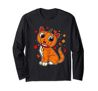 Halloween Cat Pumpkin Kitten Cute Kids Girls Boys Women Long Sleeve T-Shirt