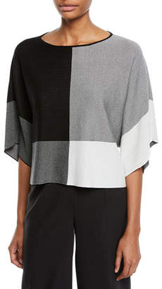Eileen Fisher Half-Sleeve Colorblock Sweater