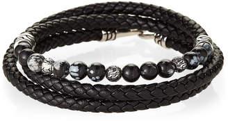 Jean Claude Leather & Snowflake Agate Bead Bracelet