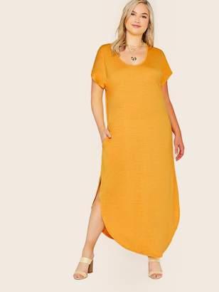 Shein Plus Pocket Side Curved Hem Tee Dress