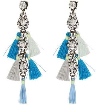 Leslie Danzis Crystal Tassel Linear Earrings